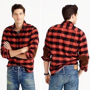 NEW J. Crew Slim Plaid Flannel Elbow Patch Shirt